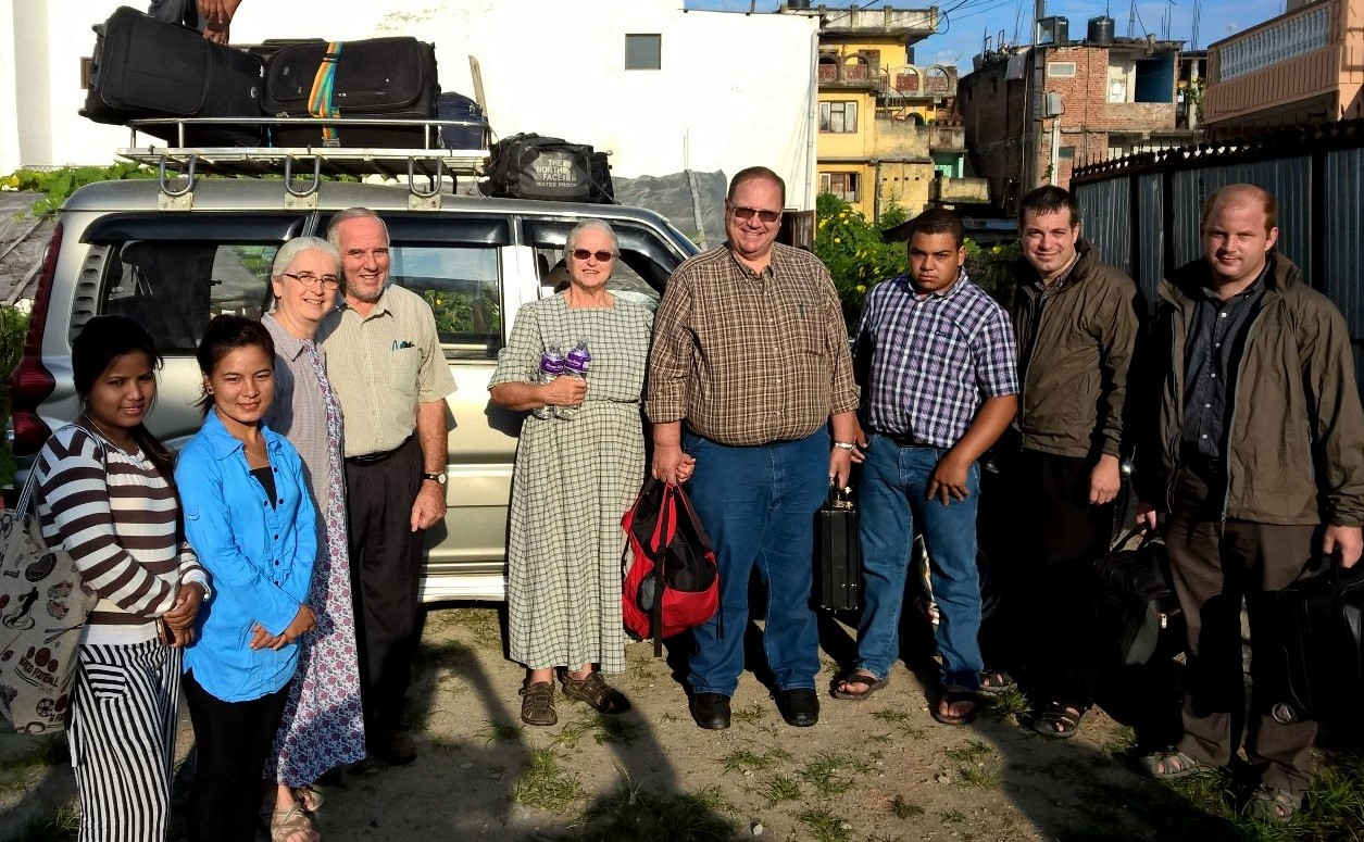 Directly after HBS this group departed Kathmandu for a 10 hour (one day) journey to central Nepal for the first EQUIP Family Life Conference in Tansen, Nepal. L-R, Rita, Sharmila (child Care) Naomi & Raymond (teacher) Wes & Alice King (Teacher) their son Wayne & Stephen Burkholder, Clinton Weaver (EQUIP Ministry Staff).
